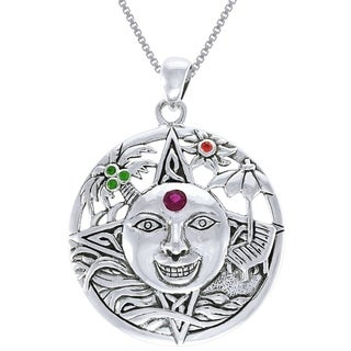 Carolina Glamour Collection Sterling Silver Summer Sun Face Celtic Medallion Colored Crystal Necklace