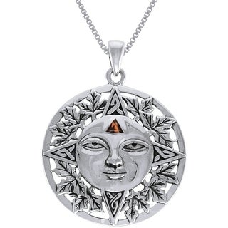 Carolina Glamour Collection Sterling Silver Autumn Sun Face Celtic Mediallion Garnet Necklace