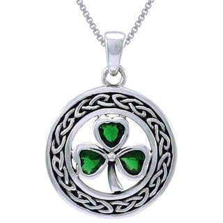 Sterling Silver Celtic Clover Emerald Green Glass Crystals Necklace