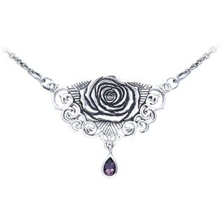 Carolina Glamour Collection Sterling Silver Sacred Rose Celtic Pendant Amethyst Drop Necklace