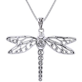 Carolina Glamour Collection Sterling Silver Celtic Triskele Dragonfly Necklace