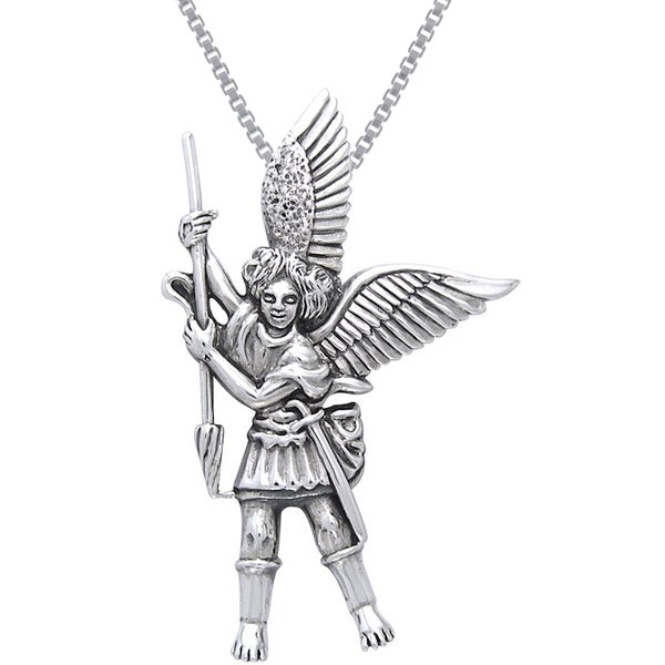 Sterling Silver Michael the Archangel Angel Necklace