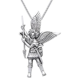 Carolina Glamour Collection Sterling Silver Michael the Archangel Angel Necklace