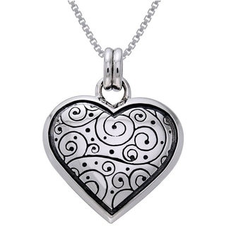 Carolina Glamour Collection Sterling Silver Celtic Spiral Heart Necklace