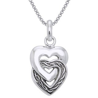 Carolina Glamour Collection Sterling Silver Celtic Double Heart Love Necklace