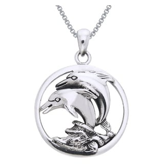 Sterling Silver Double Jumping Mother and Baby Dolphin Circle Necklace
