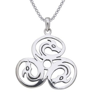 Carolina Glamour Collection Sterling Silver Celtic Trinity Knot Triple Dragons Necklace