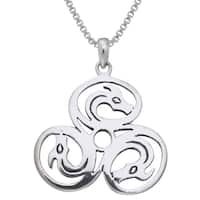 Sterling Silver Celtic Trinity Knot Triple Dragons Necklace