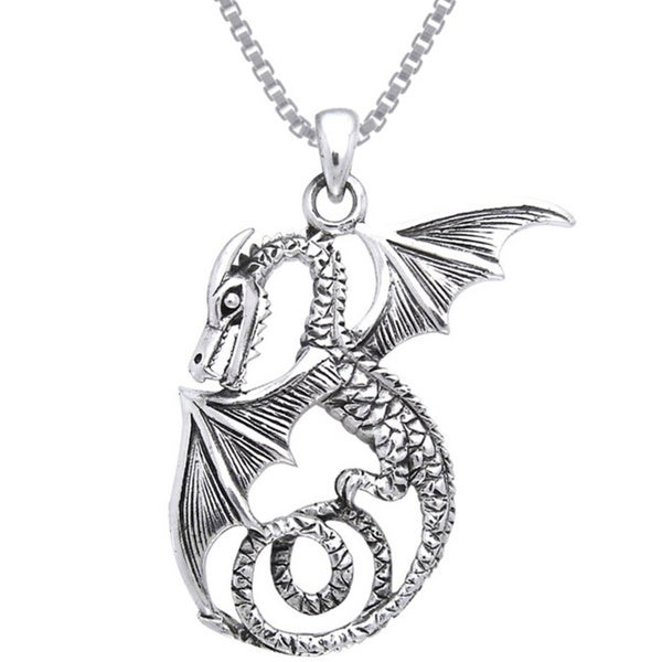 Sterling Silver Winged Sea Serpent Dragon Necklace