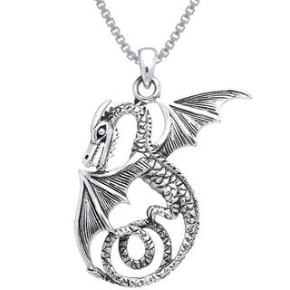 Carolina Glamour Collection Sterling Silver Winged Sea Serpent Dragon Necklace