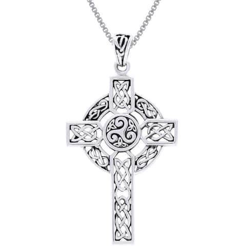 Sterling Silver Celtic Trinity Triskele Cross Necklace - White