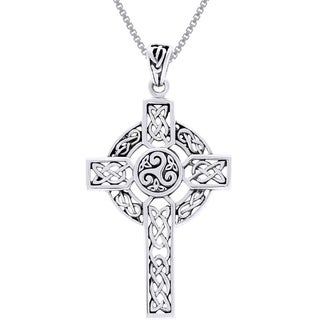 Carolina Glamour Collection Sterling Silver Celtic Trinity Triskele Cross Necklace