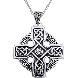 Carolina Glamour Collection Sterling Silver Celtic Trinity Solar Cross Knotwork Necklace