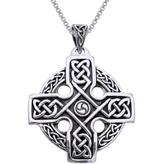 Sterling Silver Celtic Trinity Solar Cross Knotwork Necklace