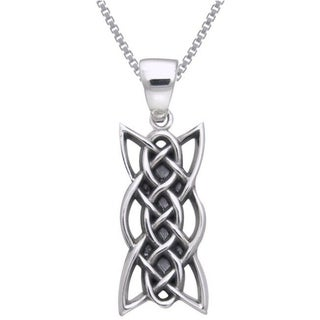 Carolina Glamour Collection Sterling Silver Celtic Knotwork Linear Necklace