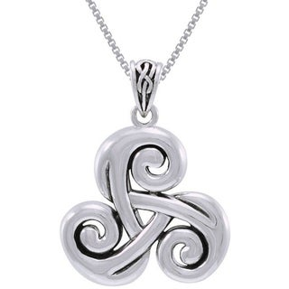 Sterling Silver Celtic Spiral Triskele Trinity Knot Necklace