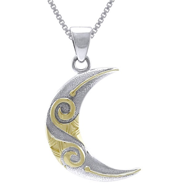Sterling Silver and Gold-plated Celtic Spiral Crescent Moon Necklace