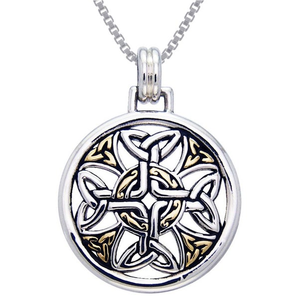 Sterling Silver Celtic Trinity Knotwork Cross Medallion Goldplated Accent Necklace