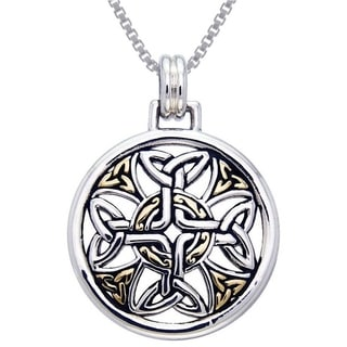 Carolina Glamour Collection Sterling Silver Celtic Trinity Knotwork Cross Medallion Goldplated Accent Necklace