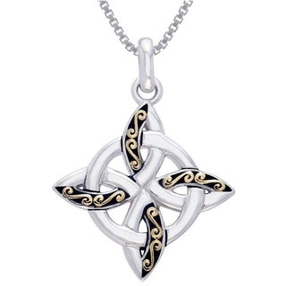 Carolina Glamour Collection Sterling Silver and Gold-Plated Celtic Quaternary Knot Necklace
