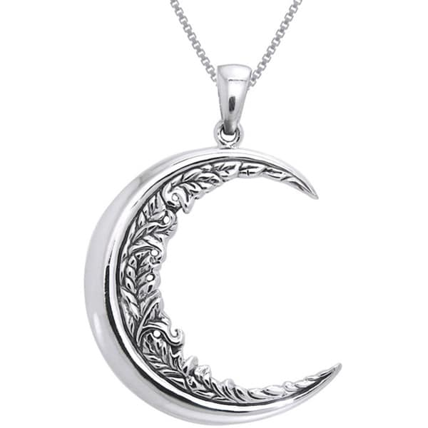 Shop Sterling Silver Large Floral Leaf Crescent Moon ...