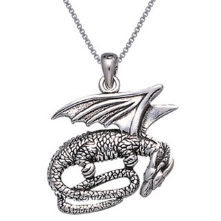 Sterling Silver Slumbering Dragon Necklace