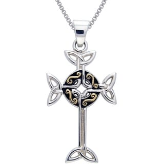 Carolina Glamour Collection Sterling Silver and Gold-plated Celtic Cross Necklace