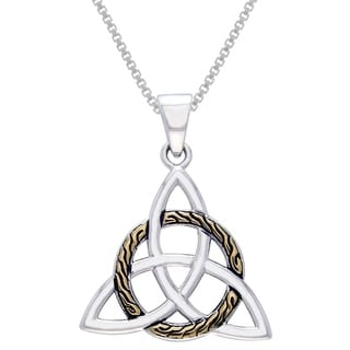 Sterling Silver Celtic Trinity Knot Pendant with Goldplated Circle of Life Braid Necklace