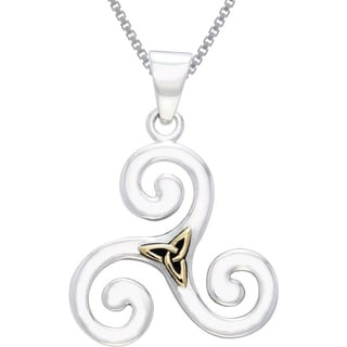 Carolina Glamour Collection Sterling Silver and Gold-Plated Celtic Triskele Trinity Knot Necklace