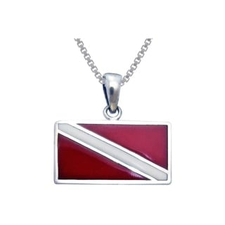 Carolina Glamour Collection Sterling Silver Scuba Diver Down Flag Red Enameled Necklace