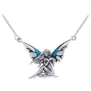 Carolina Glamour Collection Sterling Silver Teal Enameled Dark Wings Fairy Necklace