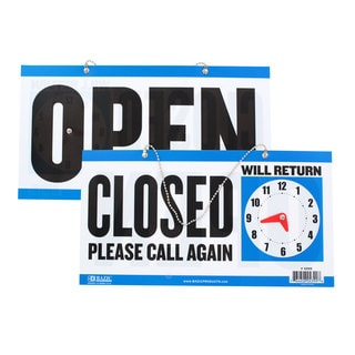 Bazic CLOSED Sign with clock / OPEN Sign on Back 6 x 11.5 Inches