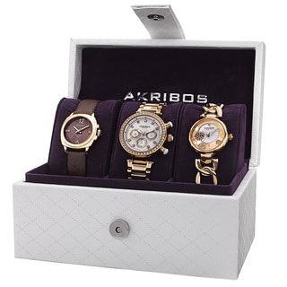 Akribos XXIV Women's Quartz Multifunction Diamond Gold-Tone Strap/Bracelet Watch Set
