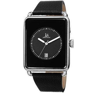 Joshua & Sons Classic Men's Quartz Rectangle Date Leather Silver-Tone Strap Watch