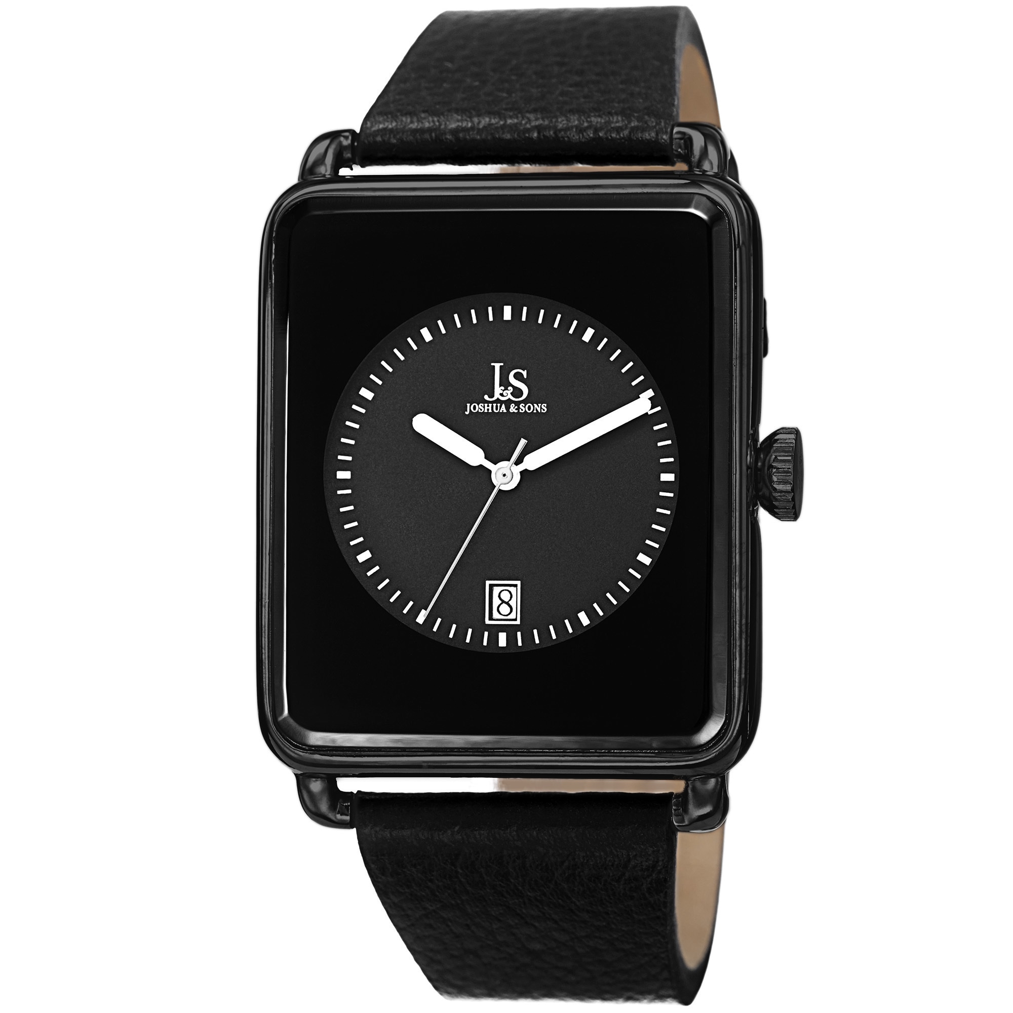 J&S Classic Men's Quartz Rectangle Date Leather Black Str...