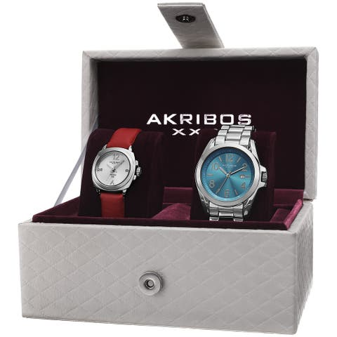 Akribos XXIV Women's Swiss Quartz Diamond Date Indicator Silver-Tone Watch Set - silver