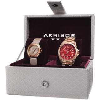 Akribos XXIV Women's Swiss Quartz Diamond Date Indicator Rose-Tone Watch Set