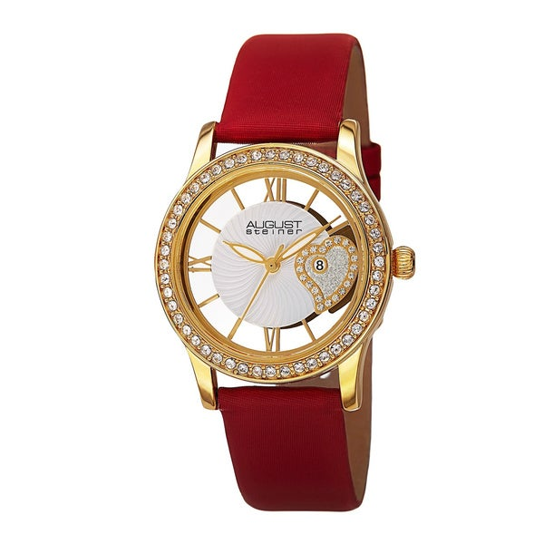 August Steiner Women's Quartz Heart Design Watch with Satin Strap