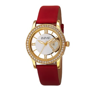 August Steiner Women's Quartz Heart Design Satin Red Strap Watch