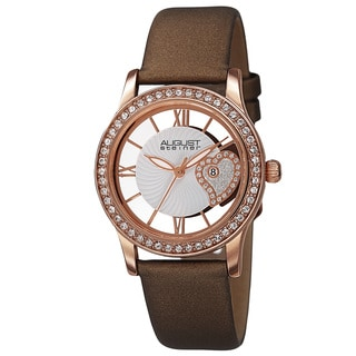 August Steiner Women's Quartz Heart Design Satin Brown Strap Watch