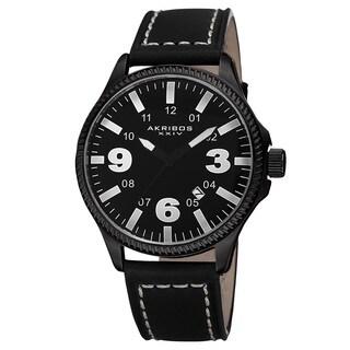 Akribos XXIV Men's Quartz Date Indicator Leather White Strap Watch