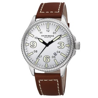 Akribos XXIV Men's Quartz Date Indicator Leather Silver-Tone Strap Watch With GIFT BOX