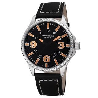 Akribos XXIV Men's Quartz Date Indicator Leather Orange Strap Watch