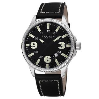 Akribos XXIV Men's Quartz Date Indicator Leather Green Strap Watch