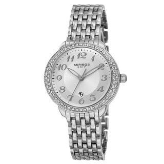 Akribos XXIV Women's Quartz Swarovski Crystal Bezel Alloy Silver-Tone Bracelet Watch