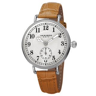 Akribos XXIV Women's Quartz Multifunction Leather Silver-Tone Strap Watch with FREE GIFT - Brown