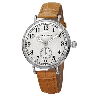 Akribos XXIV Women's Quartz Multifunction Leather Silver-Tone Strap Watch - Brown