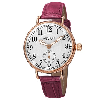 Akribos XXIV Women's Quartz Multifunction Leather Red Strap Watch