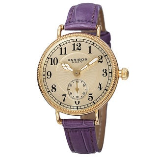 Akribos XXIV Women's Quartz Multifunction Leather Purple Strap Watch