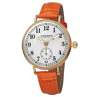 Akribos XXIV Women's Quartz Multifunction Leather Orange Strap Watch with FREE Bangle
